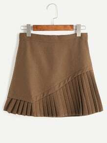 Khaki Pleated Hem Zipper Back Skirt