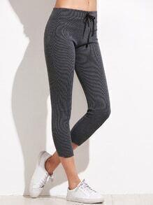 Leggings skinny cintura con cordón - gris
