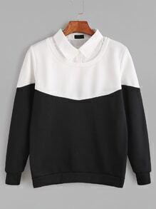 Sudadera con cuello de blusa 2 en1 - negro blanco