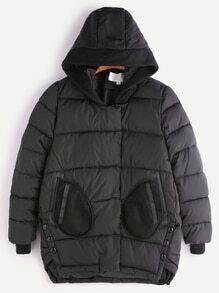 Abrigo acolchado asimétrico con capucha - negro