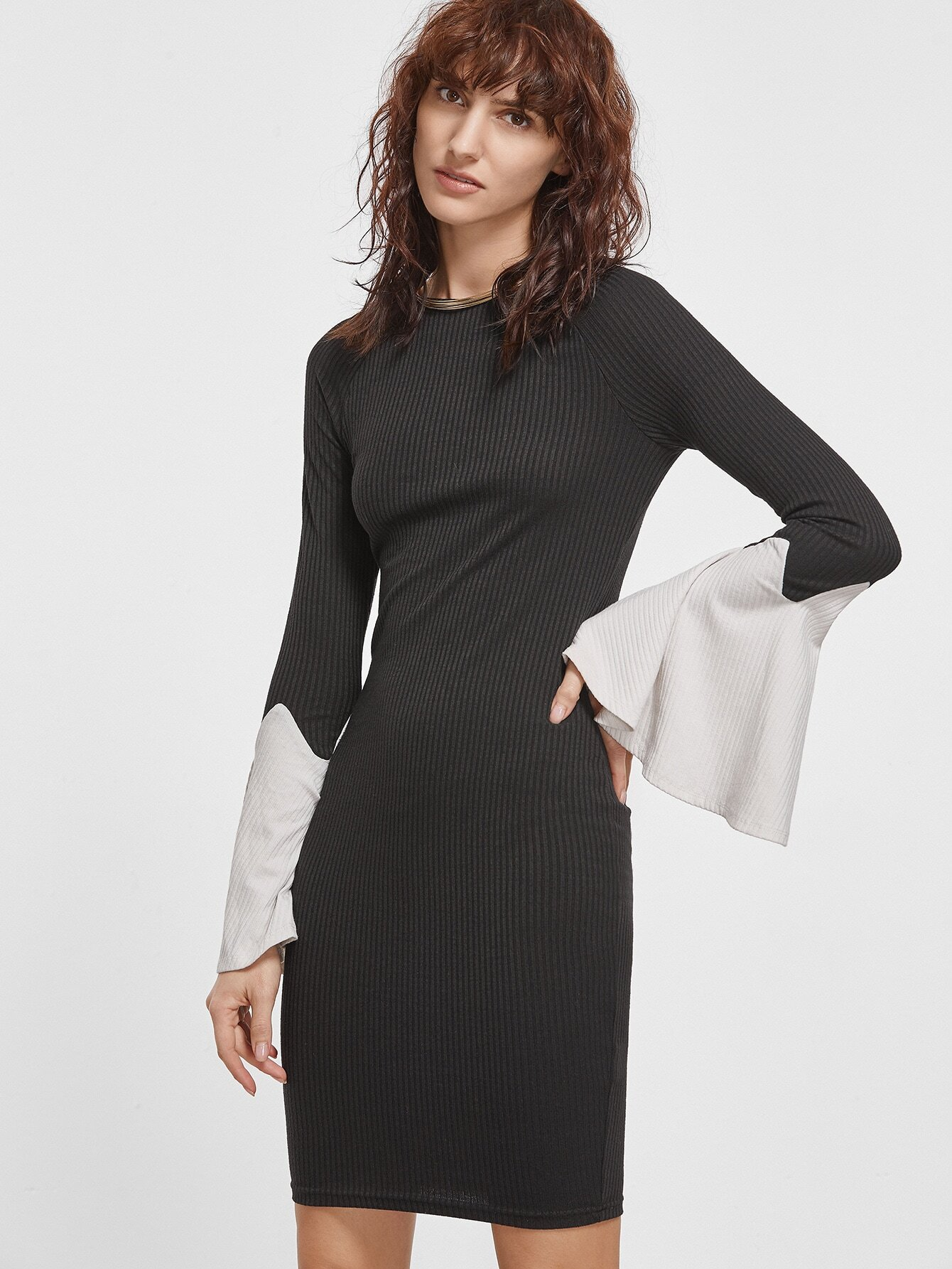 Black Ribbed Knit Contrast Bell Sleeve Bodycon Dress dress161201599