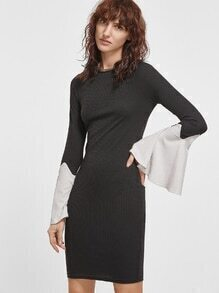 Black Ribbed Knit Contrast Bell Sleeve Bodycon Dress
