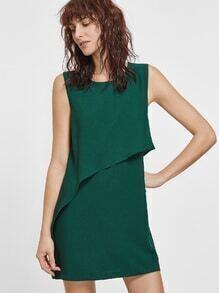 Green Sleeveless Ruffle Dress With Zipper Back