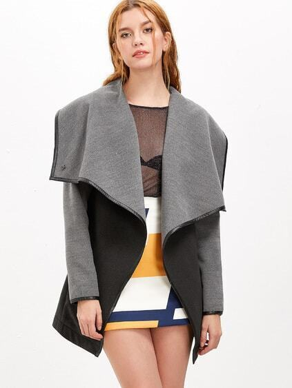 Black And Grey Drape Collar Faux Leather Binding Coat
