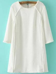 White Zipper Back Seam A Line Dress