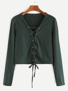 Deep Green Lace Up Front Ribbed Crop T-shirt