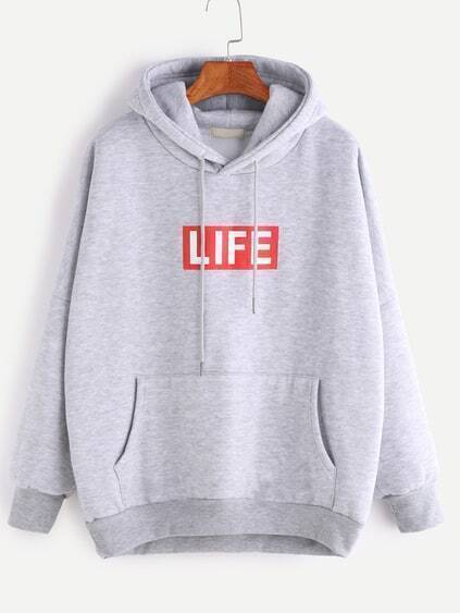 Pale Grey Letter Print Drop Shoulder Hooded Pocket Sweatshirt