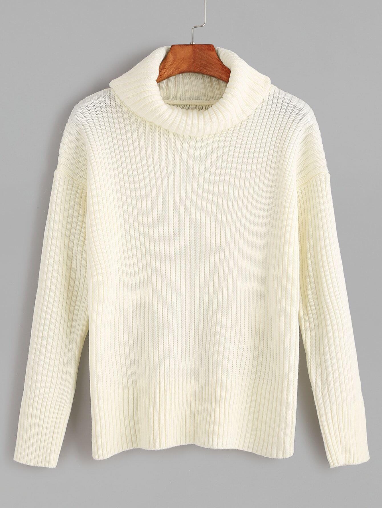 White Turtleneck Knit Sweater 108