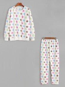 White Stars Pattern Fleecy Top With Elastic Waist Pants