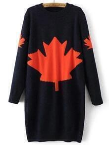 Navy Leaf Pattern Ribbed Trim Sweater Dress