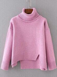 Jersey asimétrico con cuello vuelto - rosa