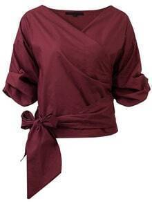 Buy Burgundy Wrap V Neck Blouse Bow Tie