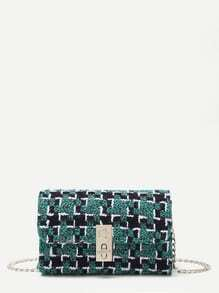 Green Plaid Twistlock Closure Boxy Chain Bag