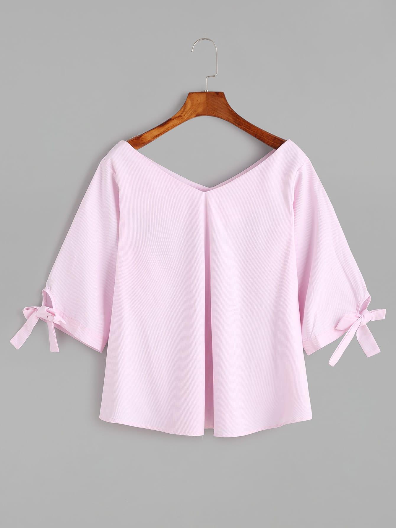 pink double v neck sleeve tie detail blousefor women romwe. Black Bedroom Furniture Sets. Home Design Ideas