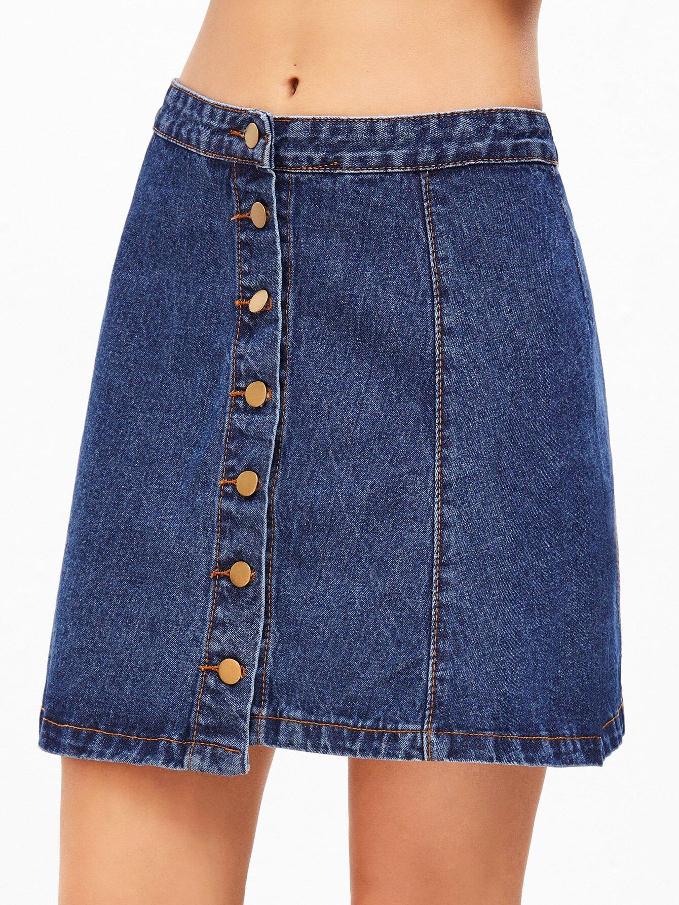 Blue Single Breasted Denim A Line Skirt