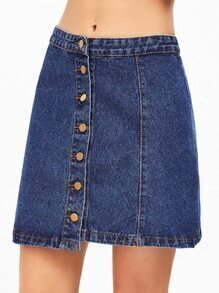 Blue Single Breasted Denim A Line Skirt
