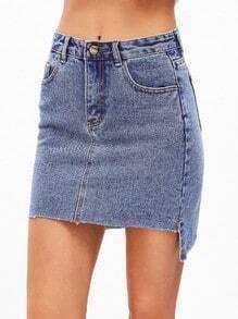 Jupe moualnt en jean avec dentelle à la base avec poche -bleu