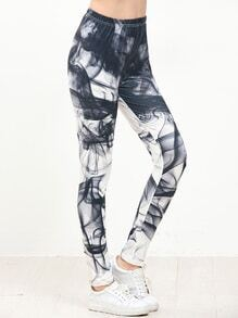 Leggings skinny con estampado - negro blanco