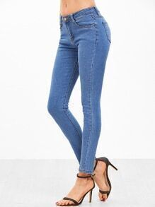 Blue Skinny Casual Jeans With Pocket