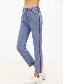 Blue Contrast Tape Side Jeans