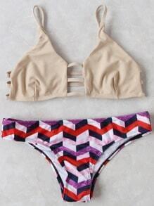 Bikini Set Trägen Geometrische Druck