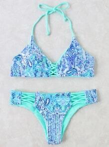Bikini Set Kreuz Detail Neckholder-blau