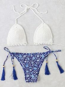 Collection de bikini tricot imprimé floral avec gland