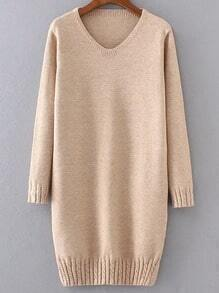 V Neck Cable Knit Detail Slit Sweater Dress