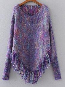 Jersey poncho con flecos - violeta