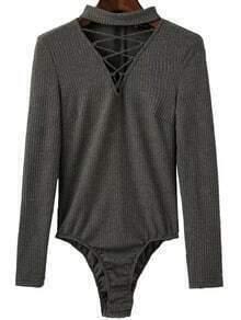 Grey Criss Cross V Neck Zipper Back Bodysuit