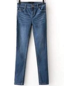 Skinny Jeans mit Knopf-blau