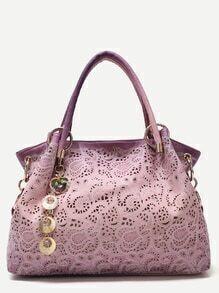 Purple Random Ombre Shell Pendant Paisley Hollow Out Tote Bag