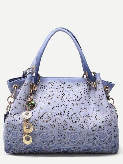 Blue Random Ombre Shell Pendant Paisley Hollow Out Tote Bag Image