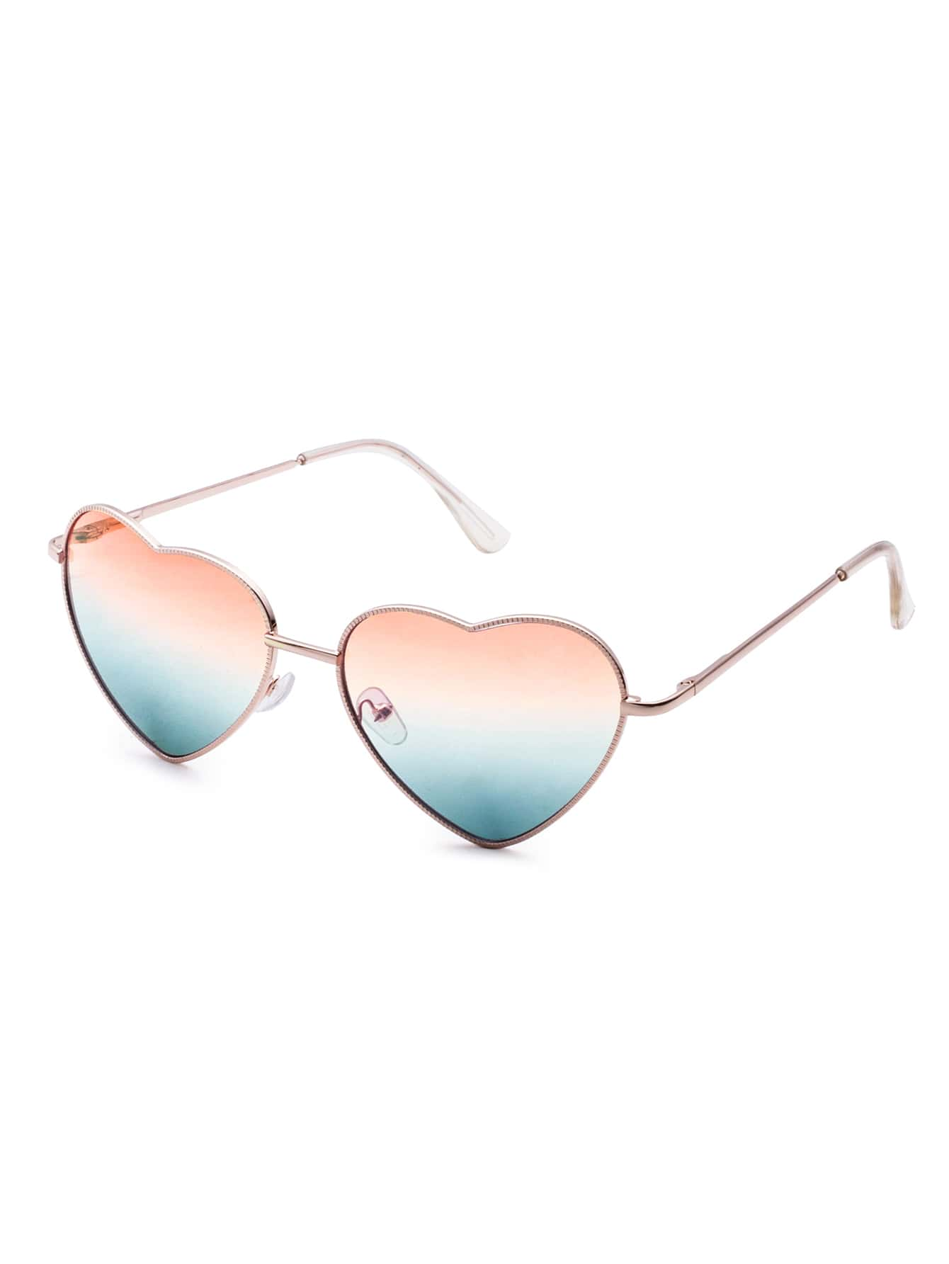 Gold Frame Heart Shaped Sunglasses : Rose Gold Plated Frame Heart Shape Casual Sunglasses