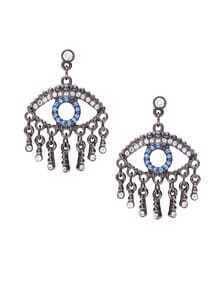 Antique Silver Tone Rhinestone Drop Earrings