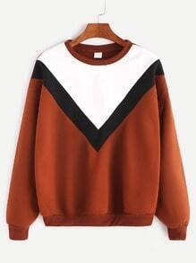 Brown Contrast Chevron Dropped Shoulder Seam Sweatshirt