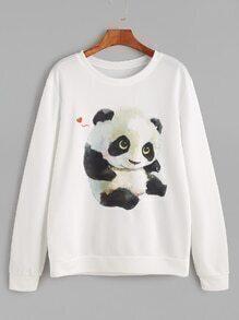 Sweat-shirt imprimé panda manche longue -blanc