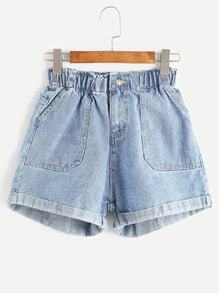 Blue Elastic Waist Rolled Hem Denim Shorts
