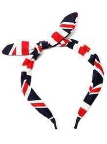 Diadema con lazo y estampado de bandera británica