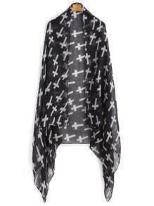 Écharpe voile contrasté croisé imprimé -noir