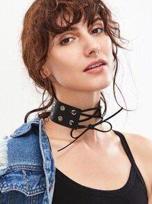 Black Eyelet Embellished Tie Front Leather Choker