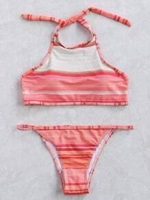 Red Striped Halter Bikini Set