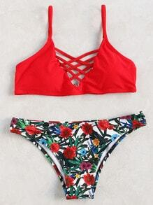 Red Floral Print Criss Cross Bikini Set