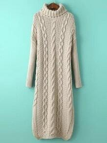 Beige Cable Knit Turtleneck Slit Maxi Sweater Dress