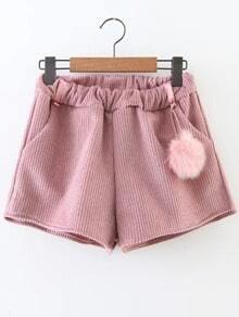 Pink Corduroy Shorts With Pom