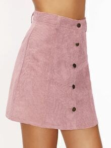 Pink Corduroy Single Breasted A Line Skirt