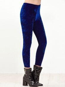 Royal Blue Velvet Skinny Leggings
