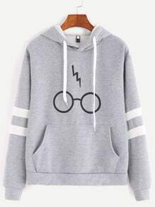 Grey Glasses Print Sleeve Contrast Trim Hooded Pocket Sweatshirt