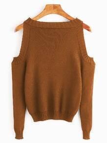 Brown Open Shoulder Long Sleeve Sweater