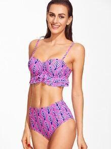 Sets de bikini con estampado ribete con volantes - rosado